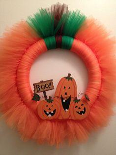 Pumpkin Tulle Wreath. $25.00, via Etsy.