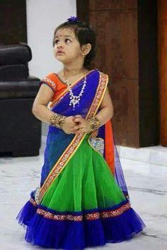 Bright ,kids, net half saree