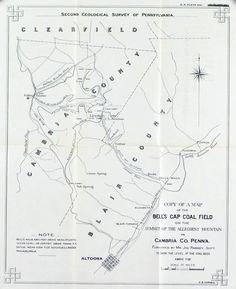 Bell's Gap Coal Field Allegheny Mountain Pennsylvania Antique Map 1877