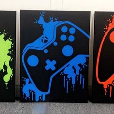 Nintendo Four Piece Video Game Controller Paintings Set Video Playstation, Xbox, Video Game Decor, Video Game Art, Set Video, Video Games, Painting For Kids, Diy Painting, Game Room Design