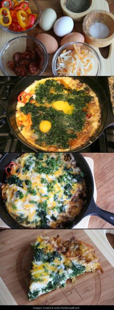 Spinach and Chorizo Frittata Recipe. I'd leave out the chorizo Wine Recipes, Great Recipes, Cooking Recipes, Favorite Recipes, Healthy Recipes, Yummy Recipes, I Love Food, Good Food, Yummy Food