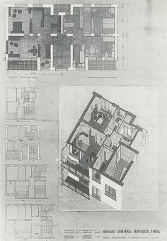 "Renowned Austro-German socialist architect Margarete Schütte-Lihotzky's design for a standard dwelling unit for a socialist settlement in the USSR, 1934-1936. Building type ""F."""