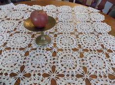 Vintage Hungarian Lace Tablecloth / Tea Table by SmallbonesStudio, $65.00