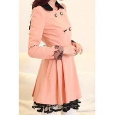 Stylish Turn-Down Neck Long Sleeve Spliced Double-Breasted Women's Coat
