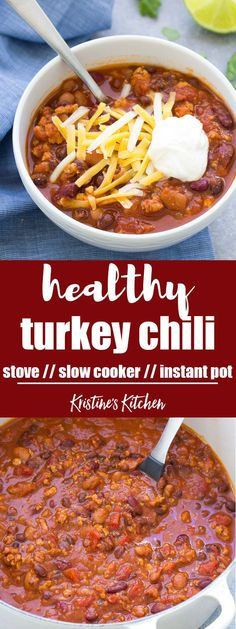 This Healthy Turkey Chili Recipe can be made on the stove top, or in your slow cooker or Instant Pot! Everyone who tries it says this is the best turkey chili! recipe healthy Healthy Turkey Chili Recipe (Stove Top, Slow Cooker or Instant Pot) Chilli Recipes, Healthy Crockpot Recipes, Crockpot Meals, Delicious Meals, Quick Recipes, Quick Meals, Sweet Recipes, Soup Recipes, Yummy Food