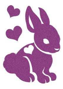 Sugar Glitter Purple Bunny Hearts Temporary Tattoo