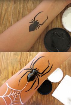 Face painting - How to paint a spider, easy step by step. Face painting paint Face painting - How to paint a spider, easy step by step Spider Face Painting, Face Painting For Boys, Simple Face Painting, Simple Halloween Face Painting, Face Painting Tutorials, Painting Patterns, Diy Painting, Belly Painting, Tole Painting