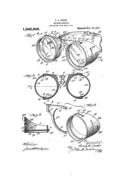 Goggle reference, simple steampunk feel, brass colored with dark lenses, targeting symbol in the right lense (the wearer's right). Welding Goggles, Steampunk Goggles, Patent Drawing, Perspective Drawing, Patent Prints, Pen Art, Mavis, Brass Color, Culture