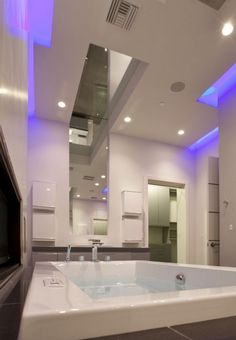 Bathroom, Large Mirror, Blue LED Lighting, Hurtado Residence In Las Vegas  By Mark Tracy Of Chemical Spaces