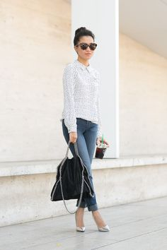 Casual Dots :: Silk blouse & Silver details - Wendys Lookbook
