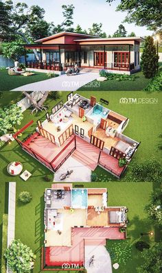 Spacious Modern Flat-inspired Home for Single Occupant Looking for Some Privacy - Cool House Concepts House Plans Mansion, Sims House Plans, House Layout Plans, Small House Plans, House Layouts, House Floor Plans, Simple House Design, Tiny House Design, Modern House Design