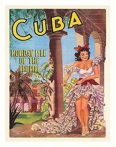 Cuba,Holiday Isle of the Tropics,Cuban,Dancer,Maracas,Vintage World Travel Poster,havana,vintage travel poster,retro,poster art,vintage advertising,vintage travel,Caribbean