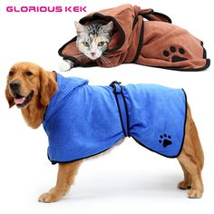 f93a4a6cde XS-XL Dog Bathrobe Warm Clothes Super Absorbent Pet Drying Towel Embroidery  Paw Cat Dog
