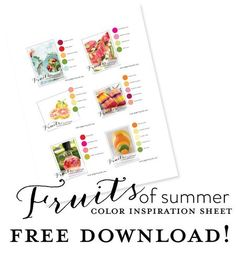 Summer Color Combos by Papertrey Ink :: Free Download Summer Colors, Color Inspiration, Color Combinations, Free Printables, Color Palettes, Blog, Cards, Ink, Colour