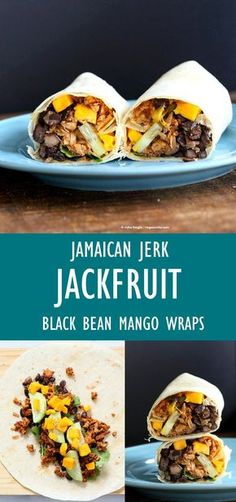 These Burritos are packed with hot shredded jerk jackfruit, black beans, mango and cucumbers. Serve as wraps or make a sandwich or bowl. Can be gluten-free with gf wraps. Veggie Recipes, Whole Food Recipes, Cooking Recipes, Healthy Recipes, Healthy Food, Healthy Eating, Juicer Recipes, Oven Recipes, Detox Recipes