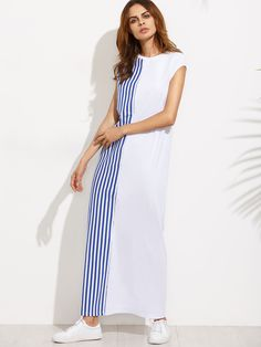 7207454099 Striped Cap Sleeve Maxi Tee Dress -SheIn(Sheinside) Striped T Shirt Dress,
