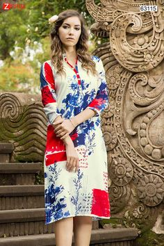 Incredible Straight Kurti Style in Cream. Message/call/WhatsApp at +91-9246261661 or Visit www.zinnga.com