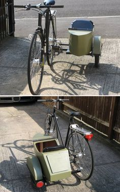 Build a sidecar to give your bike more transport space! Cool Bicycles, Vintage Bicycles, Cool Bikes, Dog Trailer, Bike Trailer, Bmx, Bike With Sidecar, Bike Cart, Velo Cargo