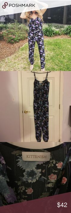 Kittenish Floral Jumpsuit!  Comfy floral jumpsuit by Kittenish! I've worn a few times  great condition. Fits true to size. Size small feel free to make an offer! Pants Jumpsuits & Rompers