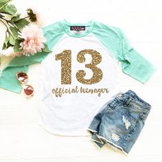 cb0b951a Girls 13th Birthday Shirt, Official Teenager Shirt, Double Digits Shirt,  Thirteenth Birthday Shirt, Girls Birthday Shirt
