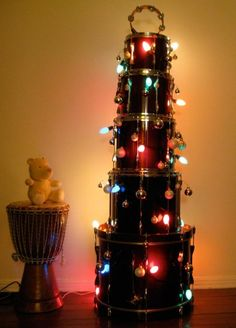 Christian when he's older! another idea for an alternative Christmas tree! if I had some extra drums, I would totally do this! Alternative Christmas Tree, Cool Christmas Trees, Christmas Holidays, Christmas Crafts, Christmas Decorations, Merry Christmas, Christmas Rock, Xmas Trees, Christmas Music