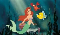 """The Little Mermaid"", 1989  Ariel with Flounder and Sebastian"
