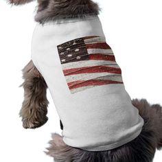 SOLD ! Painted #AmericanFlag on Rustic Wood Texture Pet Tee shirt shipping to San Rafael, CA #USA  #petshirt #petclothing