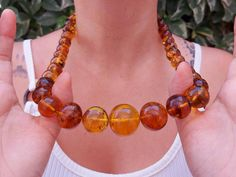 Natural amber statement necklace / large mexican amber bead   Etsy Love Bracelets, Bangle Bracelets, Bangles, Amber Necklace, Beaded Necklace, I Love Mexico, Amber Beads, Boho Rings, Healing Stones