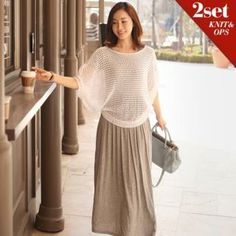 Set: Loose-Fit Open Knit Top + A-Line Maxi Dress from #YesStyle <3 mayblue YesStyle.com