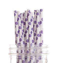 25 Paper straws Purple Polkadots  Drinking Straws