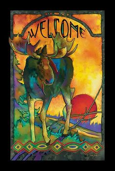 """Brighten your home or cabin with this stunning framed wallhanging.This beautiful stained glass welcome sign features a moose printed with fade resistant inks. Framed in 1"""""""" black-finished moulding. C"""