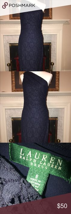 Ralph Lauren navy stretch cocktail dress size 8 Ralph Lauren navy stretch cocktail dress size 8. A beautiful timeless piece. Ralph Lauren Dresses