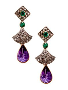 Estate Amethyst, Emerald, & Champagne Diamond Drop Earrings by Estate Fine Jewelry at Gilt