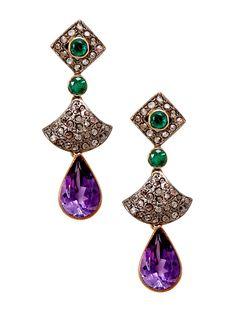 Estate Amethyst, Emerald,  Champagne Diamond Drop Earrings