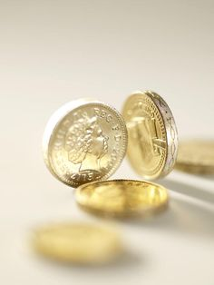British one pound coins.