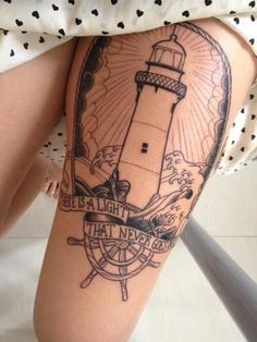 Lighthouse leg tattoo - don't particularly care for the work, but I like the idea!