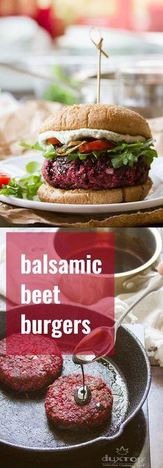 Balsamic Beet Burgers- flavor packed veggie burger with balsamic glaze #vegetarian #vegan #oil-free