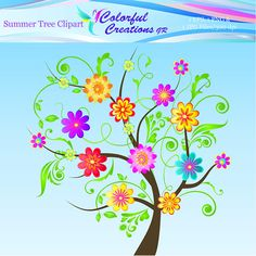 Summer Tree Clipart For Personal And Commercial Use Tree Clipart, Flower Clipart, Summer Trees, Colorful Trees, For Your Party, Event Decor, Creative Ideas, Party Invitations, Great Gifts