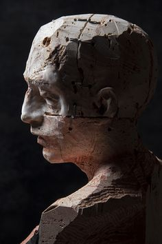 Christian Zucconi Italy), TESTA I Stone, iron and wax / Pietra, ferro e cera, cm 28 x 21 x Sculpture Head, Sculptures Céramiques, Wood Sculpture, Futuristic Art, Oeuvre D'art, Clay Art, Crane, Sculpting, Portraits