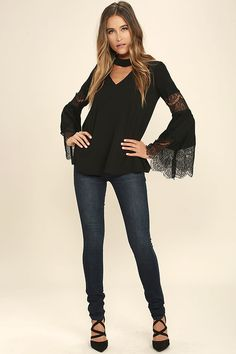 Step and Repeat Black Lace Long Sleeve Top 2