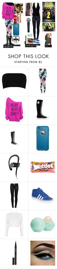 """Me in Pitch Perfect 2"" by moon-and-back-babe123 ❤ liked on Polyvore featuring Boohoo, Converse, LifeProof, Beats by Dr. Dre, River Island, Paige Denim, adidas, Eos and Smith & Cult"