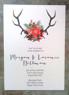 Deer Antlers  Flowers Custom 5x7 Wedding Invites by MorganWolf, $45.00