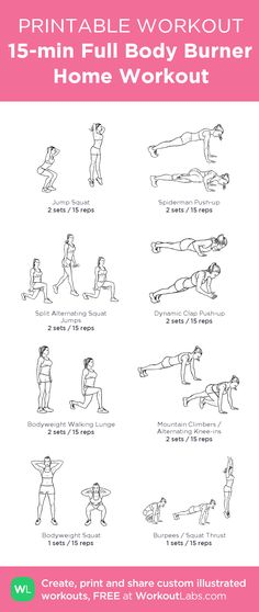 15-min Full Body Burner Home Workout for Women & Men – a printable no equipment workout, download FREE: http://wlabs.me/1pMecJv