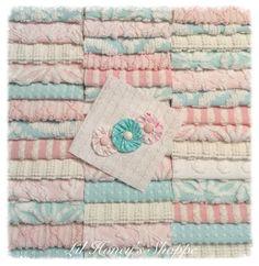 "Chenille fabric quilt squares 42-6"" blocks, Aqua & Pink, very shabby chic, vintage bedspread fabric by lilhoneysshoppe on Etsy"