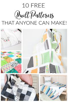 10 Free Quilts that anyone can make! Simple Simon & Company Today we have a round up for you of 10 of our most popular (AND FREE!) quilt tutorials to make for any quilting project you have going on. Lap Quilts, Strip Quilts, Patch Quilt, Quilt Blocks, Quilting Projects, Sewing Projects, Quilting Ideas, Diy Projects, I Spy Quilt