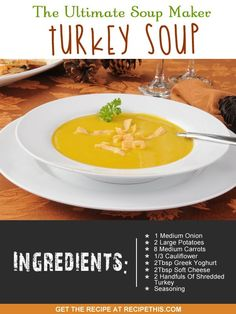 turkey soup Welcome to my ultimate soup maker turkey soup. Last Christmas (though it feels stupid saying last Christmas when it was only three weeks ago) we made it our mission to use our turkey as much as we could Lunch Recipes, Appetizer Recipes, Soup Recipes, Dinner Recipes, Delicious Recipes, Tortillas, Turkey Seasoning, Ramen, Healthy Recipes