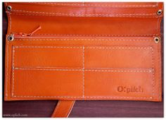 ORANGE Women Wallet Purse / Pumpkin Leather by OplichLeatherGoods