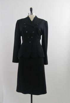 1940s Dress 40s Dress Suit - Jacket & Skirt in Black Gabardine