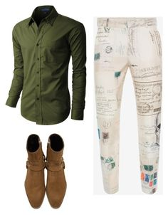 """""""Untitled #210"""" by stylishglam ❤ liked on Polyvore featuring Alexander McQueen, Yves Saint Laurent, LE3NO, men's fashion and menswear"""