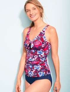 e39782f427 A Talbots exclusive tankini top with a modest V-neckline. This  figure-flattering